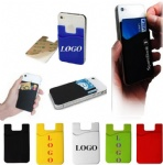 Silicone Cellphone Credit Card Iwallet Holder with Sticker